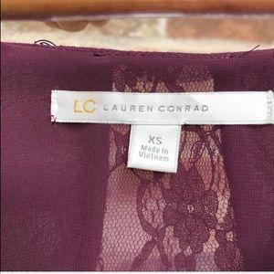 LC Lauren Conrad Tops - Lauren Conrad Plum Lace Insert Blouse